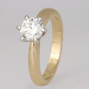Handmade ladies 18ct yellow gold and palladium diamond engagement ring