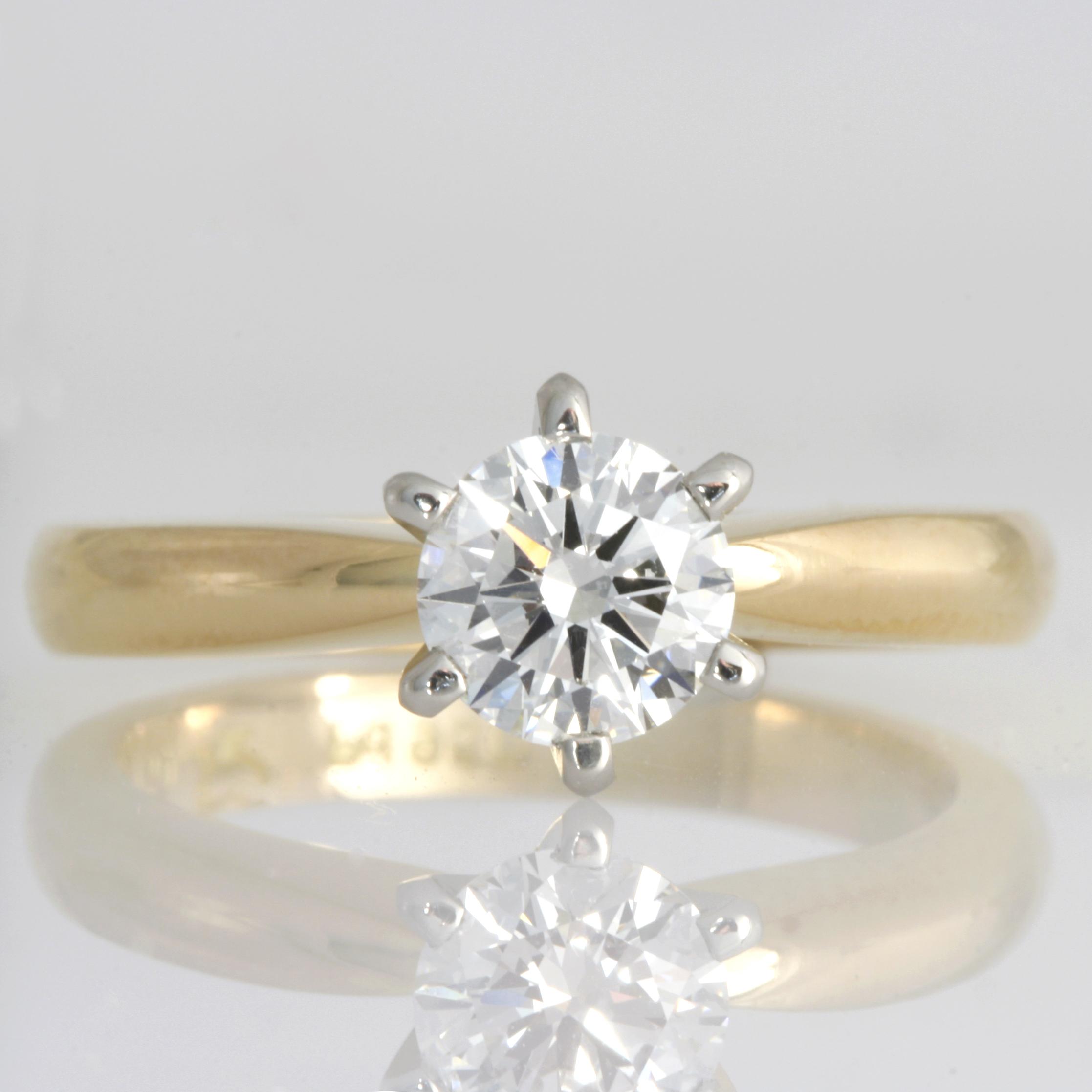 Handmade ladies 18ct yellow gold and palladium diamond engagement ring