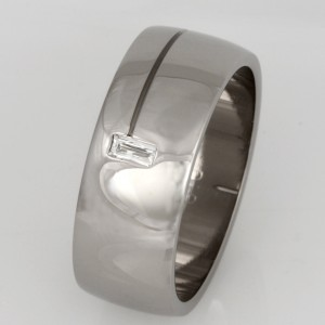 Handmade gents 18ct white gold wedding ring feautring a 'Tycoon' cut diamond