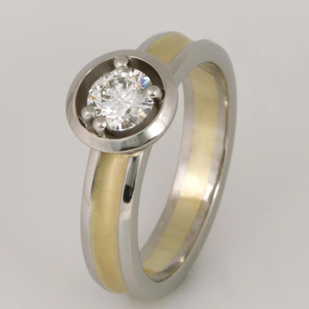 Handmade ladies palladium and 18ct green gold diamond ring