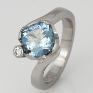 Handmade ladies palladium aquamarine and diamond engagement ring