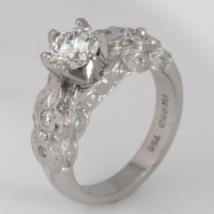 Handmade ladies palladium and 18ct white gold diamond engagement ring