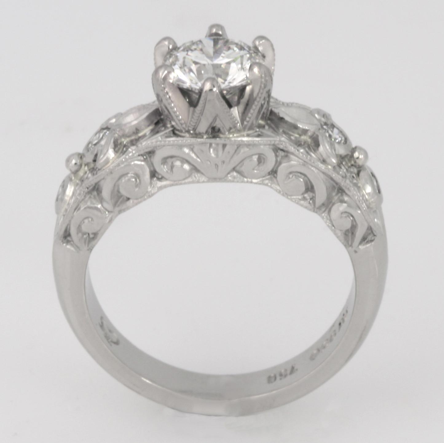 Handmade ladies palladium and 18ct white gold diamond engagement ring