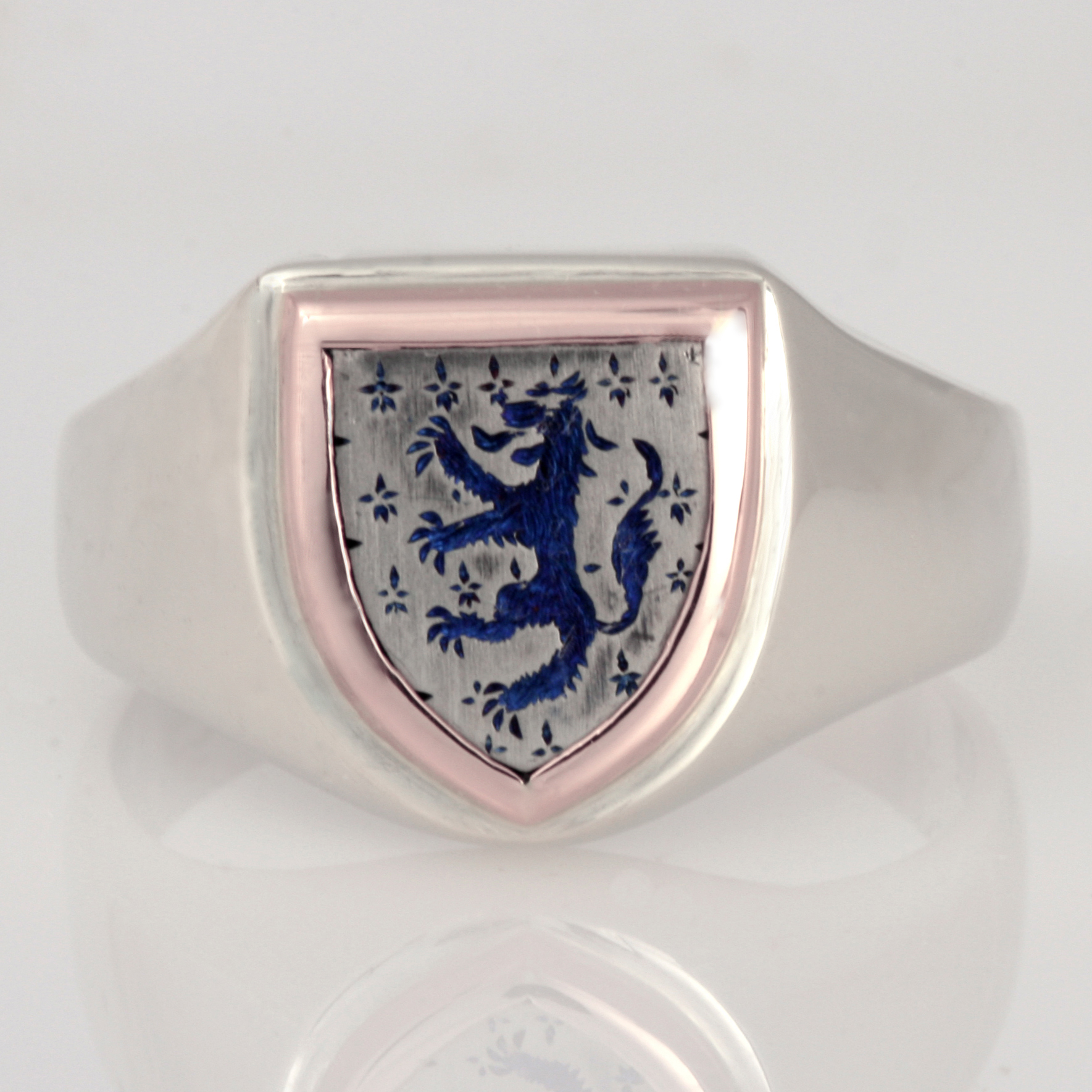 9ct rose gold, white gold and titanium hand engraved sheild crest ring