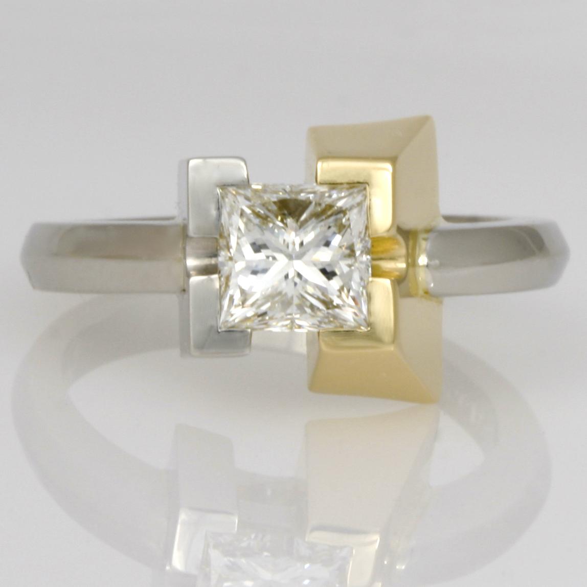 Handmade ladies palladium and 18ct yellow gold princess cut diamond ring