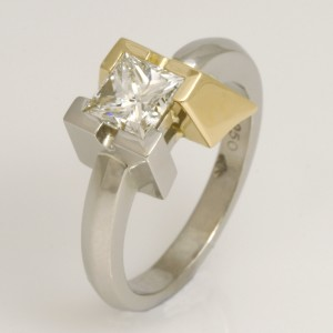 Handmade ladies palladium and 18ct yellow gold princess cut diamond ring