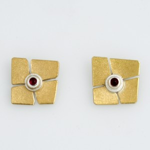 E0180 Sterling Silver and gold ruby earrings. $465