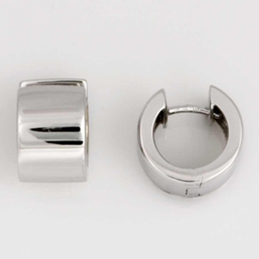 E121 9ct white gold flat huggie earrings. $550