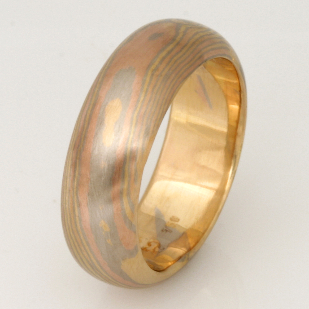 Handmade gents 18ct yellow, white and rose gold Mokume Gane wedding ring