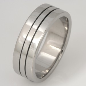 Handmade gents palladium and ruthinium wedding ring