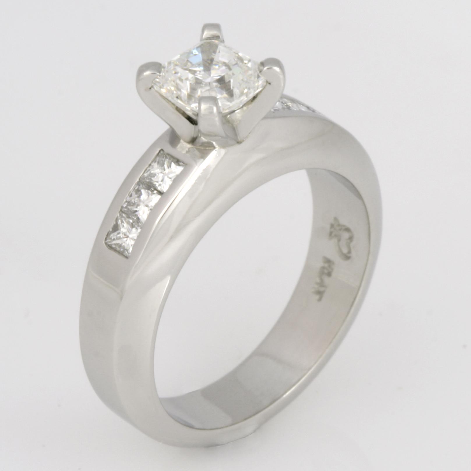 Handmade ladies platinum 'Evolution' cut diamond engagement ring