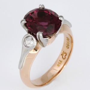 Handmade ladies 18ct peach gold and palladium rhodolite garnet and rose cut diamond ring