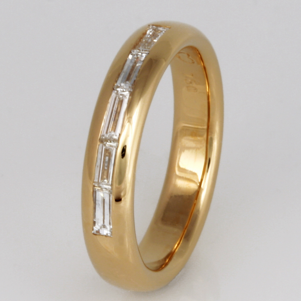 Handmade ladies 18ct yellow gold baguette diamond set wedding ring