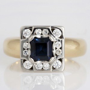 Handmade ladies 14ct yellow gold and palladium sapphire and diamond ring