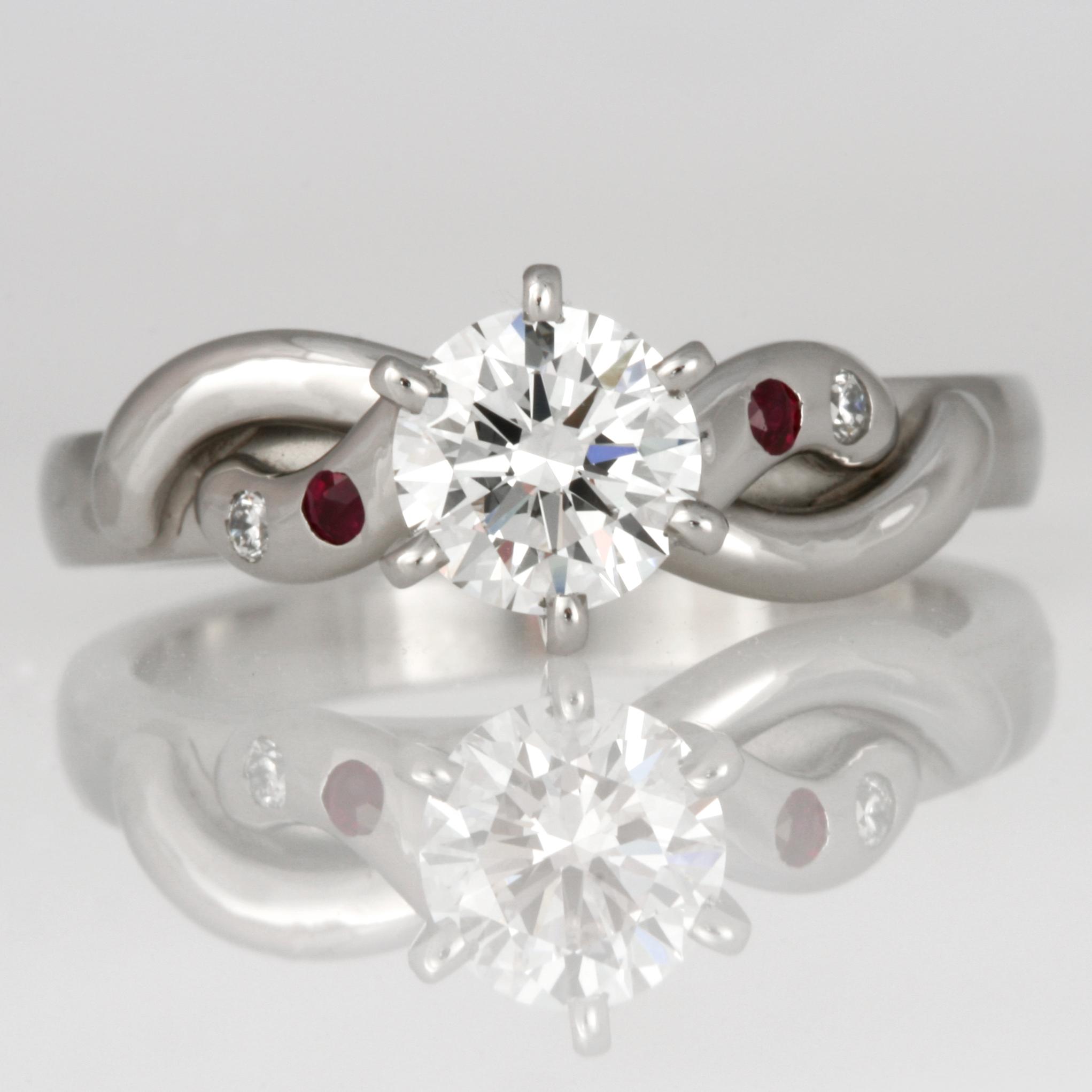 Handmade ladies palladium diamond and ruby engagement ring