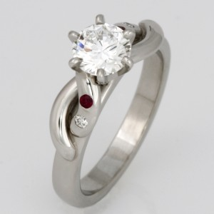 Handmade ladies palladium diamond and ruby engagement ring