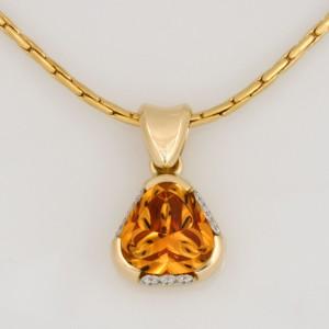 Handmade ladies 18ct yellow gold and palladium citrine and diamond pendant