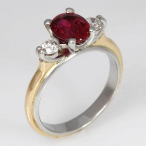 Handmade ladies platinum and 18ct yellow gold natural ruby and diamond ring