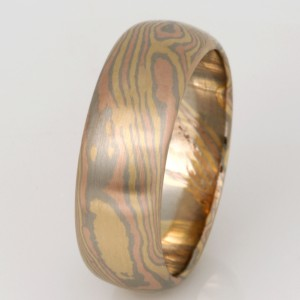 Handmade gents 18ct rose, white and yellow gold Mokume Gane wedding ring