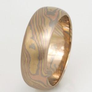 Handmade gents 18ct rose, white and yellow gold Mokume Gane wedding ring