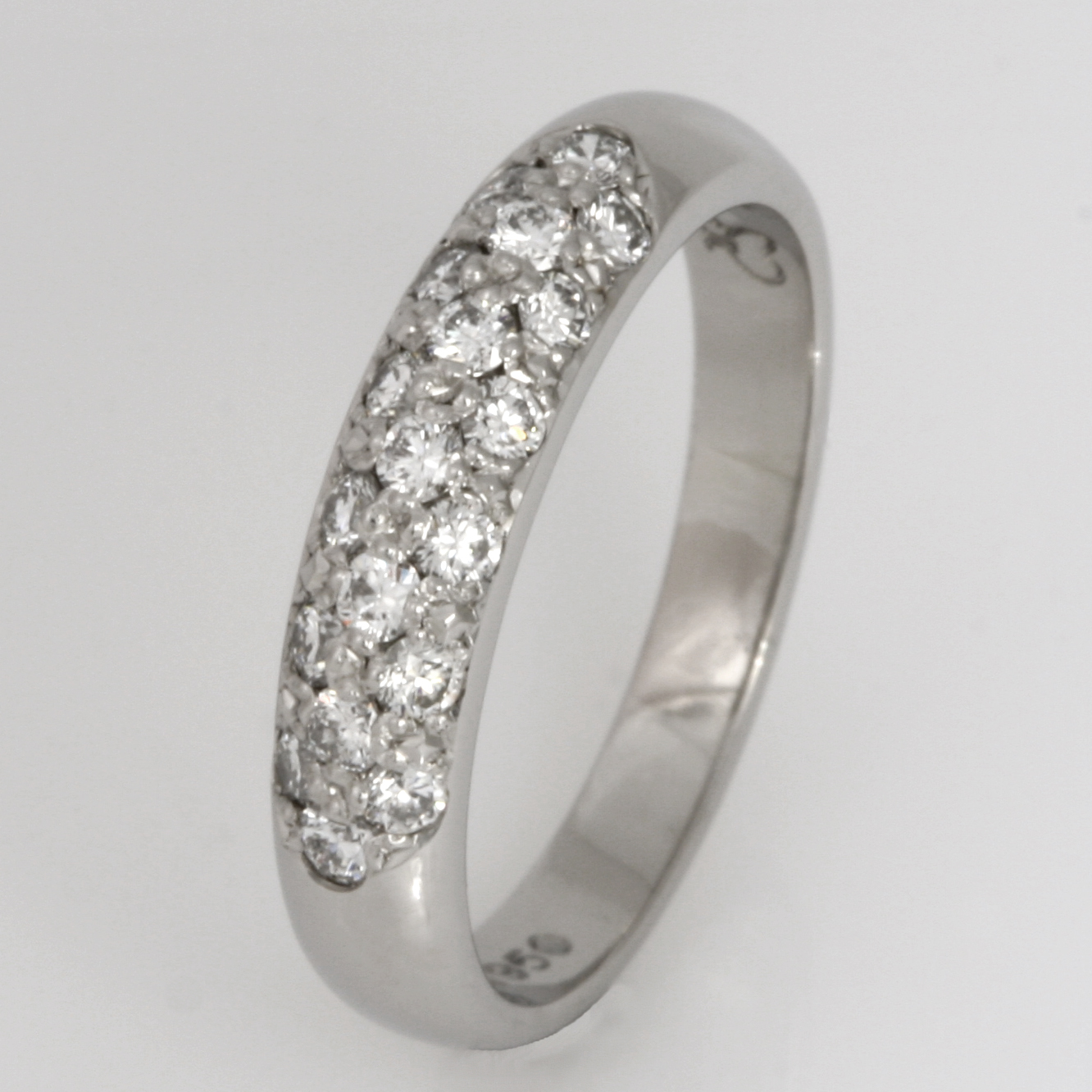 Handmade ladies palladium diamond set eternity ring