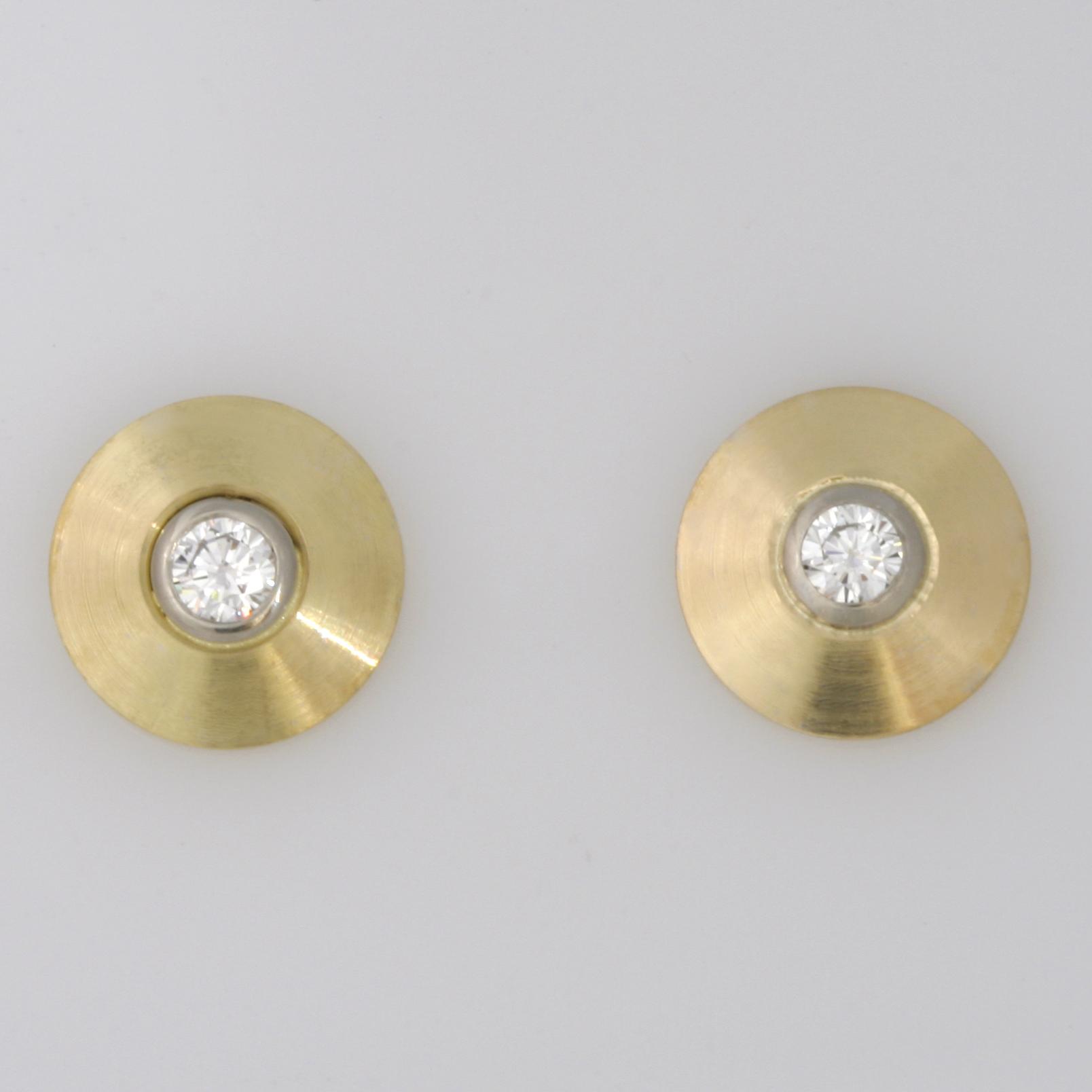 Handmade 18ct yellow gold diamond stud earrings