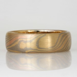 Handmade gents 18ct yellow, rose and white gold Mokume Gane wedding ring