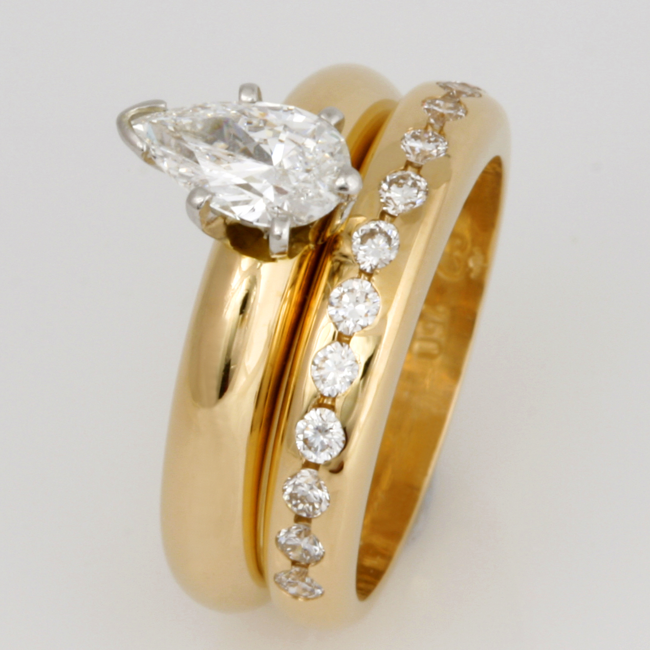 Handmade ladies 18ct yellow gold diamond engagement and wedding ring set.
