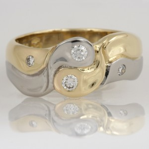 Handmade ladies palladium and 18ct yellow gold diamond ying yang ring