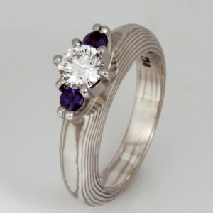 Handmade and designed by Robert – 18ct white gold and sterling silver Mokume Gane diamond ring featuring purple sapphires