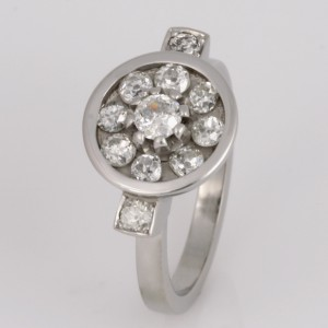 Handmade ladies palladium old cut diamond ring
