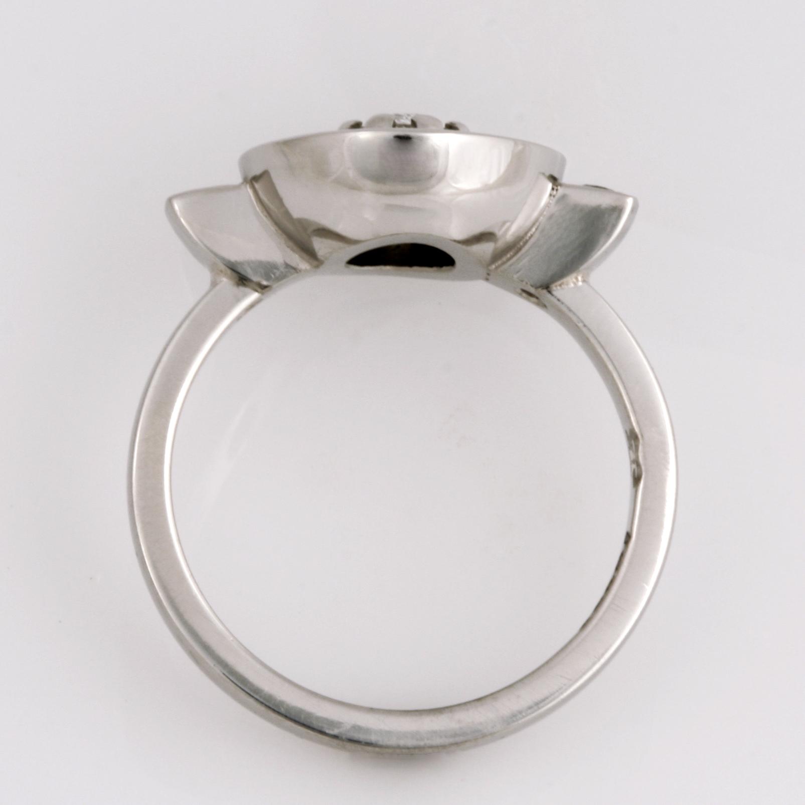 Handmade ladies palladium old cut diamond ring