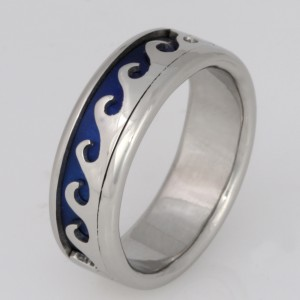 Handmade gents palladium wave wedding ring with blue niobium