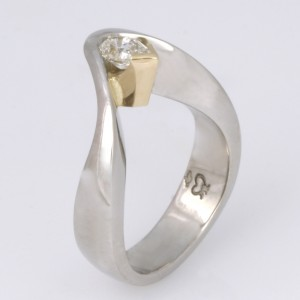Handmade ladies palladium and 18ct yellow gold pear shape diamond engagement ring
