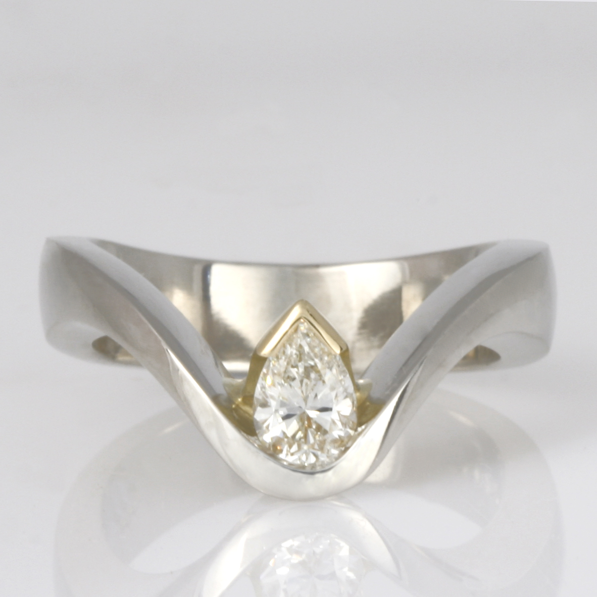 Handmade ladies palladium and 18ct yellow gold pear shape diamond engagement ring