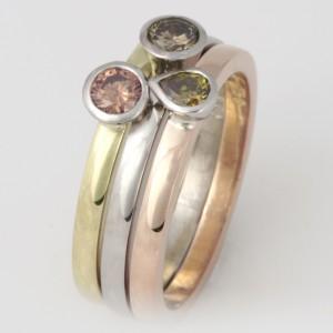 Handmade ladies palladium, 18ct green gold and 18ct rose gold 3 ring set featuring 3 coloured diamond