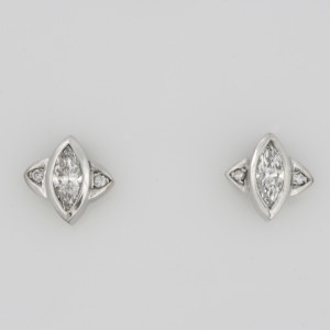 Ladies white gold diamond earrings