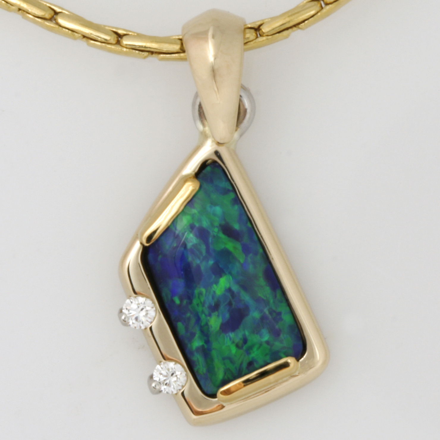 Handmade ladies 14ct yellow gold opal and diamond pendant