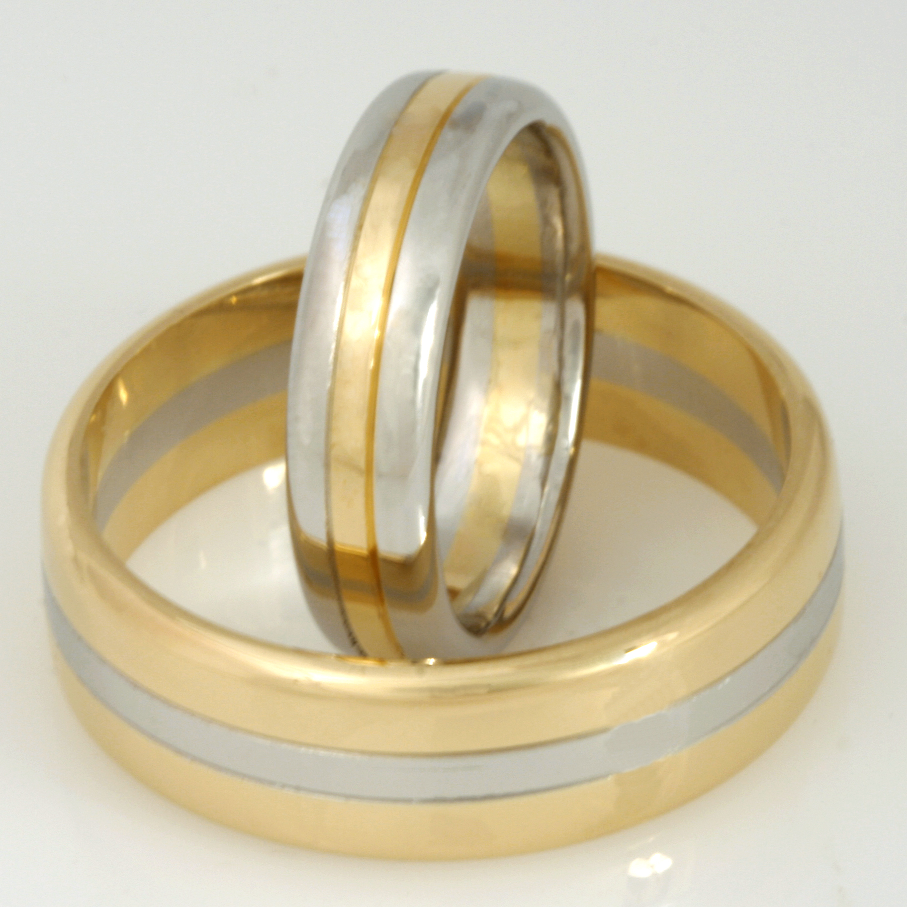 Handmade gents and ladies platinum and 18ct yellow gold wedding rings