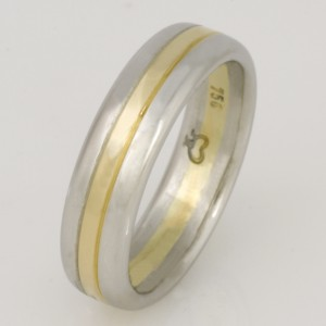 Handmade ladies platinum and 18ct yellow gold wedding ring