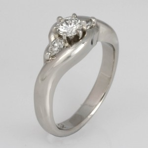 Handmade ladies palladium diamond engagement ring