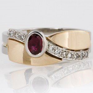 Handmade ladies palladium and 14ct yellow gold ruby and diamond 'Archie' style ring