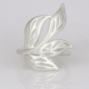 R131 Sterling silver matte and polished leaf ring. $210