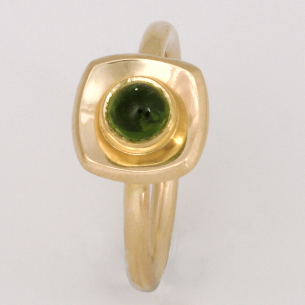 "R140 Ladies 14ct yellow gold ring featuring a 5mm round green tourmaline. Finger size ""M1/2"" $1077"