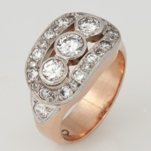 Handmade ladies palladium and rose gold diamond ring