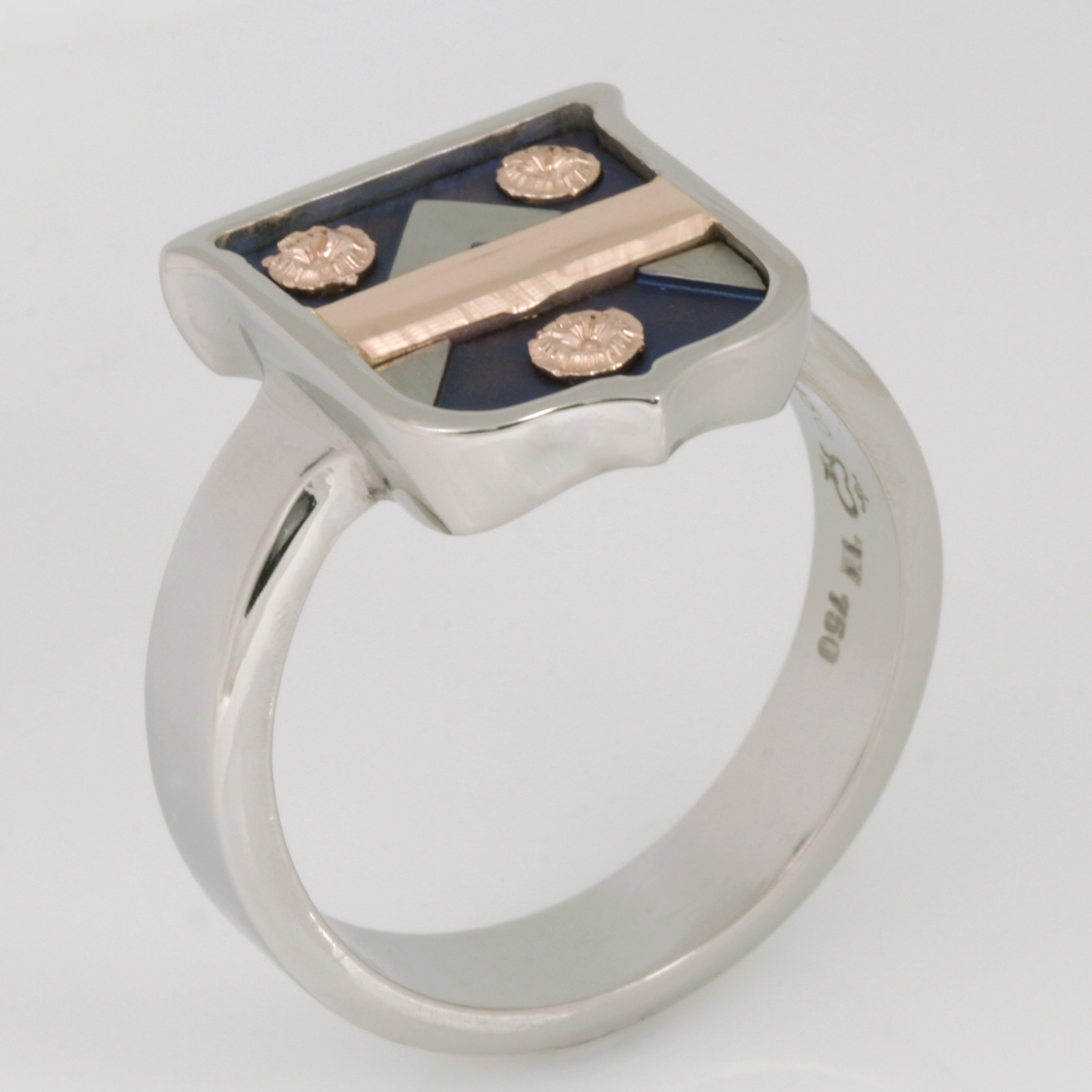 Handmade gents palladium, 18ct rose gold and titanium oxidized blue shield ring