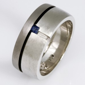 Handmade gents palladium blue sapphire diamond wedding ring