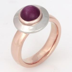 Handmade ladies 18ct rose gold and palladium star ruby ring