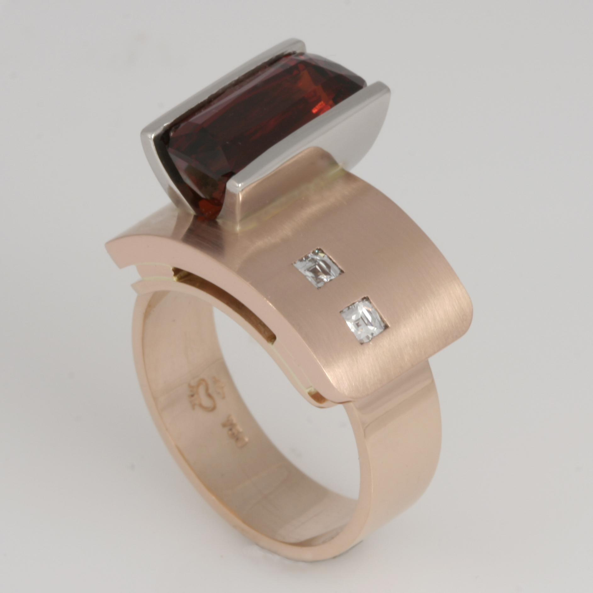 Handmade ladies 18ct peach and rose gold and palladium 'Archie' design ring featuring a spessartite and tycoon cut diamonds