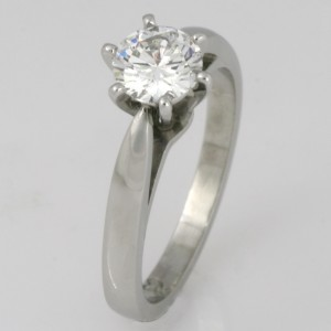 Handmade ladies platinum brilliant cut diamond engagement ring